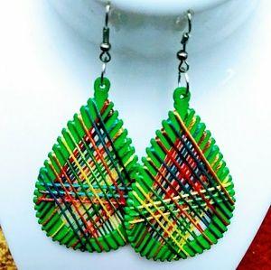 Colorful wood thread hook dangle earrings Green